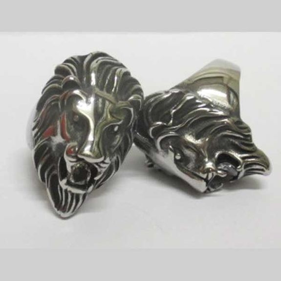 lion ring with crystal in the mouth