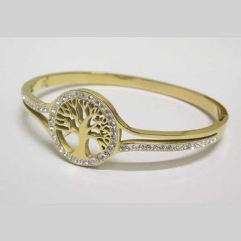 golden stainless steel tree of life bangle