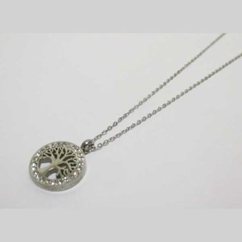 woman pendant necklace steel tree of life