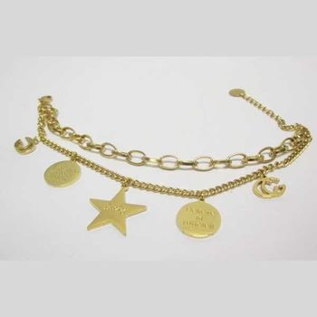 golden steel charm bracelet