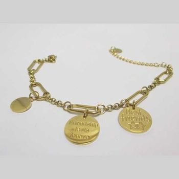 gold steel chain and charms bracelet