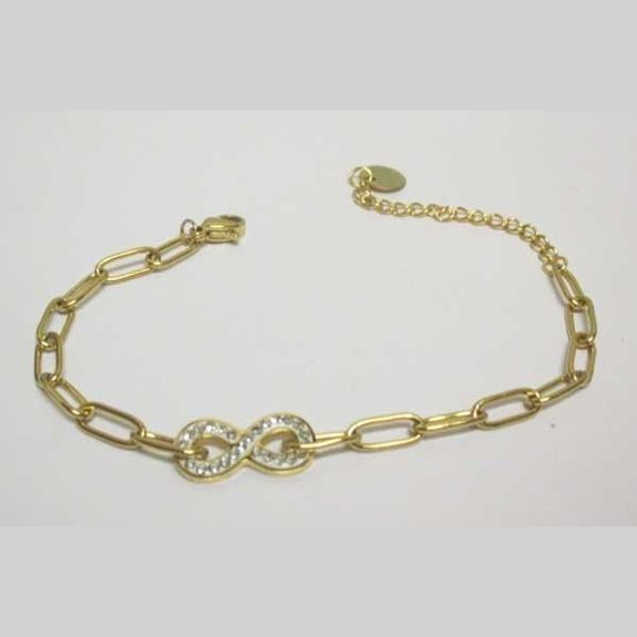 infinity bracelet in golden steel woman