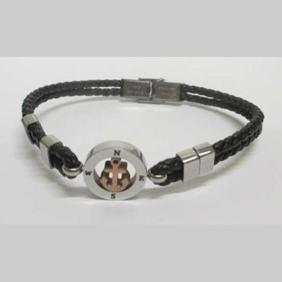 leather bracelet man anchor in circle direction