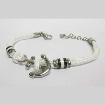 white cord anchor bracelet jewelry