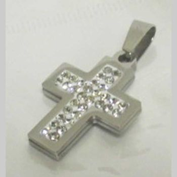 steel crystal cross pendant