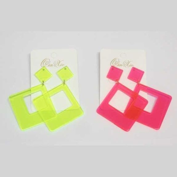 fluorescent color square earrings