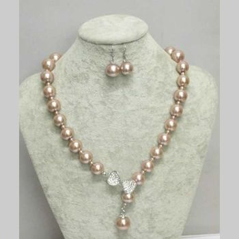 brown pearl chain jewelry with rhinestone bow