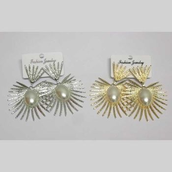 fancy golden silver spikes earring
