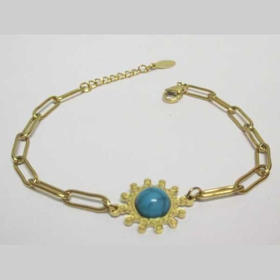 jewelry bracelet woman stainless steel with blue stone