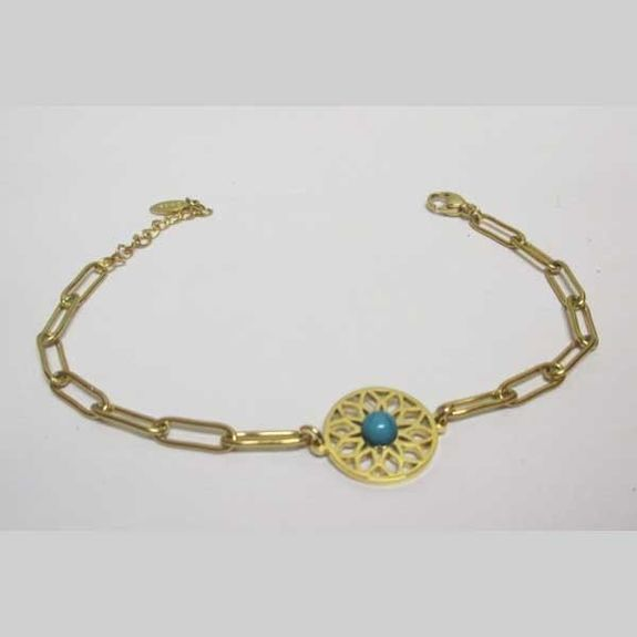 Mandala bracelet blue stone golden steel