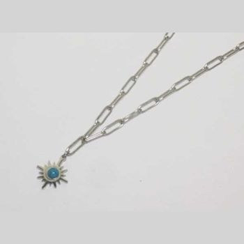 blue stone star necklace steel