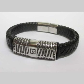 man leather steel bracelet