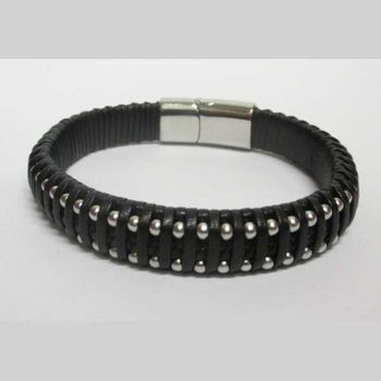 men's leather bracelet with magnetic clasp