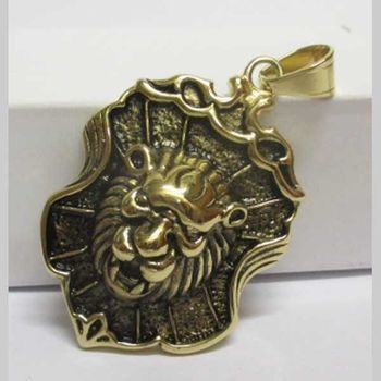 golden steel lion head shield