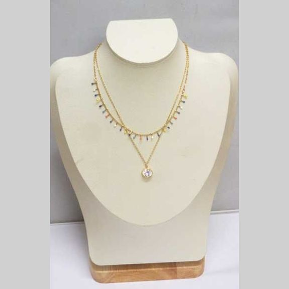 necklace double chain multicolored steel crystal pendant