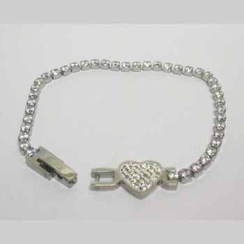 stainless steel heart crystal bracelet