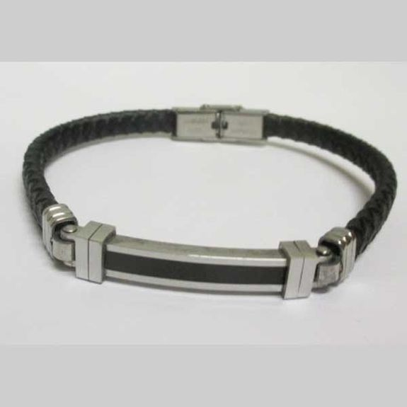 fine braided leather strap with stainless steel bar