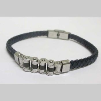 blue braided leather strap steel bike chain