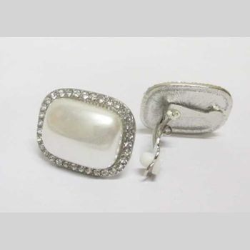 bijoux boucles d'oreilles rectangle perle a clip