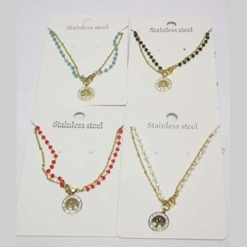 double chain pearl necklace tree of life steel in lot