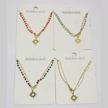 double chain steel star pearl necklace in set