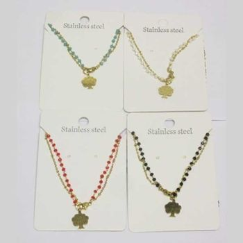 double chain necklace pearl tree steel in lot