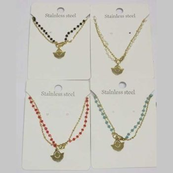 double chain pearl necklace half circle steel in lot