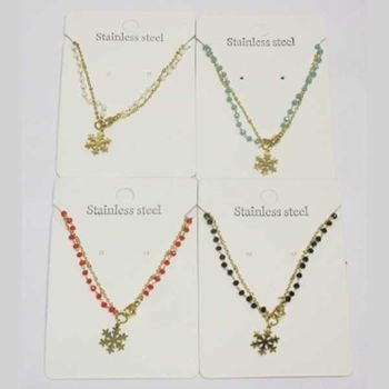 double chain steel snowflake pearl necklace in set