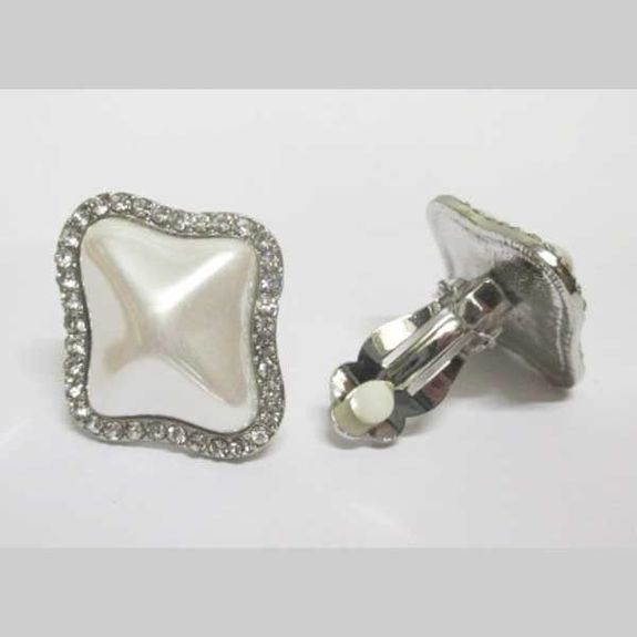 fancy curved pearl earrings with clip