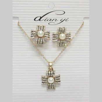 low price pearl knot jewelry set