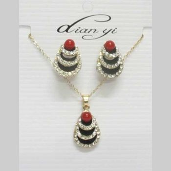 fancy jewelry rhinestone pearl red