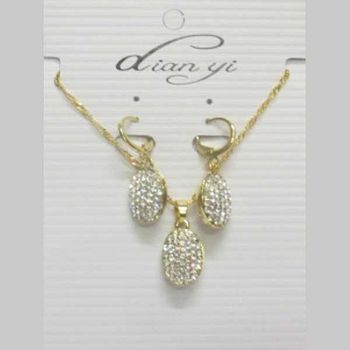 gold rhinestone jewelry set