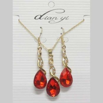 red crystal drop jewelry