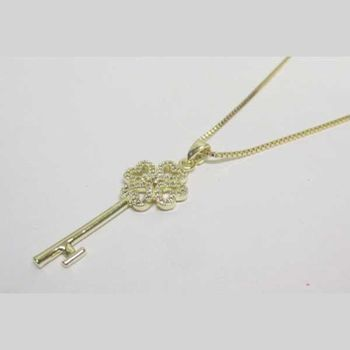 golden key necklace jewelry in rhodium