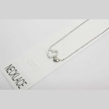 steel necklace with rhinestone heart and full heart