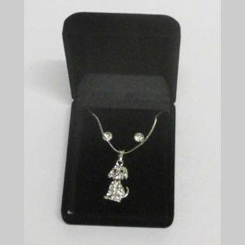 dog pendant costume jewelry in box