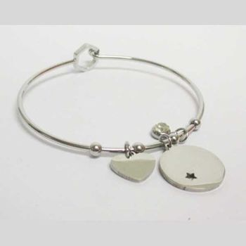steel bangle round star heart charms