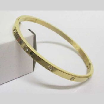 golden steel bangle marked with crystal