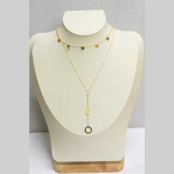 double chain necklace round golden steel