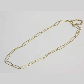 golden steel oval chain necklace