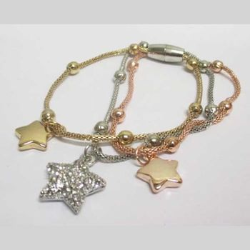 star curb bracelet in rose gold-plated silver