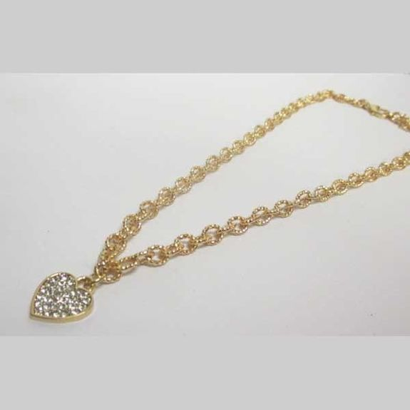 gold metal necklace jewelry heart charms