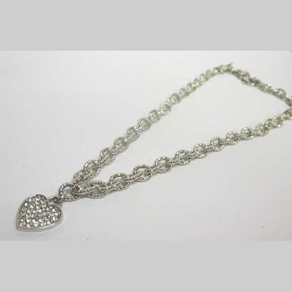 heart charm mesh necklace jewelry