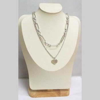 double row twisted and mesh necklace