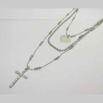 jewelry 3 levels chain heart cross