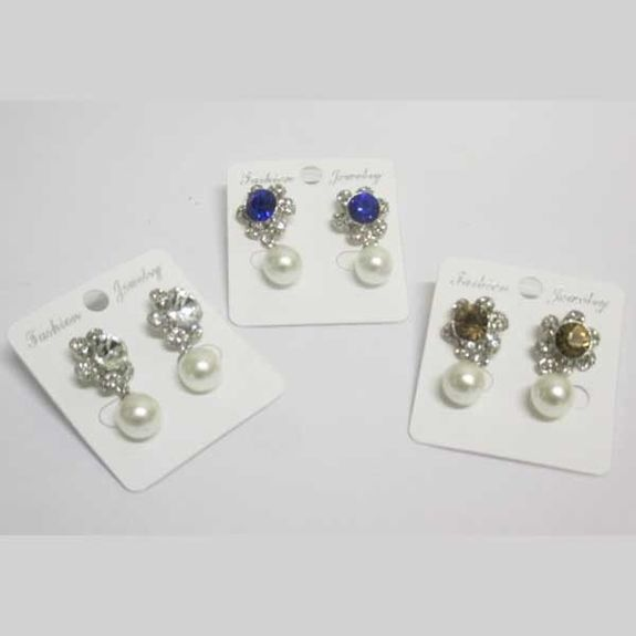 fancy crystal and dangling pearl earring
