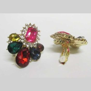 crystal earring in all colors with clip