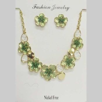 jewelry set email flower green