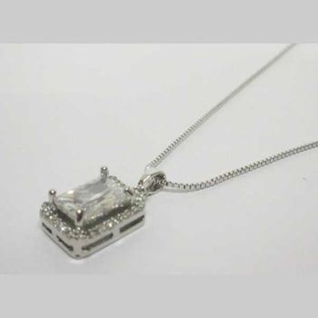 Rhodium-plated crystal square pendant jewelry