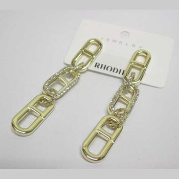 boucles d'oreilles rhodié suite rectangle doré
